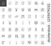 dentist tools outline icons set.... | Shutterstock .eps vector #1255479232