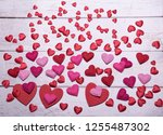red and pink love hearts for... | Shutterstock . vector #1255487302