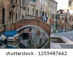 beautiful water channel  docked ... | Shutterstock . vector #1255487662