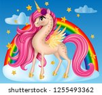 pony unicorn with flower  big... | Shutterstock .eps vector #1255493362