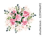 beautiful watercolor wreath...   Shutterstock . vector #1255496692