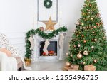 christmas interior in the... | Shutterstock . vector #1255496725