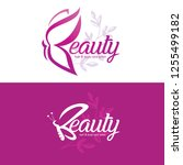 beauty logo template with... | Shutterstock .eps vector #1255499182