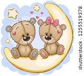 two cute cartoon bears is... | Shutterstock .eps vector #1255519378