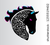 horse head black color with...   Shutterstock .eps vector #1255519402