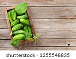 fresh garden cucumbers on...   Shutterstock . vector #1255548835