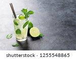 mojito cocktail on dark stone... | Shutterstock . vector #1255548865