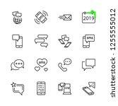 set of message vector line... | Shutterstock .eps vector #1255555012