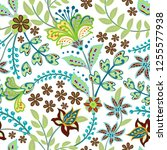 retro hand draw flower pattern... | Shutterstock .eps vector #1255577938