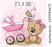 greeting card it is a girl with ... | Shutterstock .eps vector #1255594675