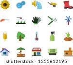 color flat icon set wheelbarrow ... | Shutterstock .eps vector #1255612195