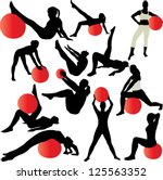 pilates women silhouettes  ... | Shutterstock .eps vector #125563352