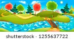 funny landscape with river ... | Shutterstock .eps vector #1255637722