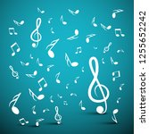 musical notes on blue background | Shutterstock .eps vector #1255652242