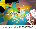 belgium travel concept map... | Shutterstock . vector #1255657168
