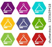 musical triangle icons 9 set... | Shutterstock . vector #1255659418