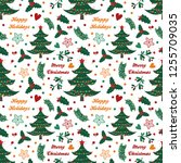 seamless pattern with spruce ...   Shutterstock .eps vector #1255709035