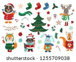 big christmas set with isolated ... | Shutterstock .eps vector #1255709038