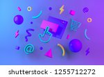 bright multicolor geometric... | Shutterstock . vector #1255712272