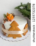 new year's cake with... | Shutterstock . vector #1255732378