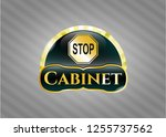 shiny emblem with stop icon... | Shutterstock .eps vector #1255737562