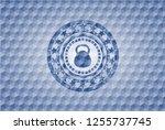 kettlebell icon inside blue... | Shutterstock .eps vector #1255737745