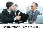 adult businessman discussing... | Shutterstock . vector #1255752388