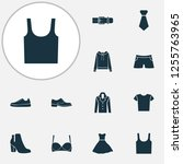 dress icons set with evening... | Shutterstock .eps vector #1255763965