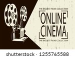 online cinema poster with retro ... | Shutterstock .eps vector #1255765588