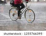 female cyclist in the rain | Shutterstock . vector #1255766395