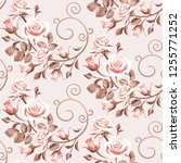 seamless floral patterns with... | Shutterstock .eps vector #1255771252