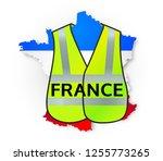 france map in national flag... | Shutterstock .eps vector #1255773265