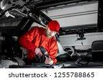 handsome auto service worker in ... | Shutterstock . vector #1255788865