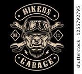 black and white design of biker ... | Shutterstock .eps vector #1255792795