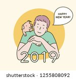 2019 happy new year greeting... | Shutterstock .eps vector #1255808092