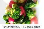 block kerry and tomato on white ...   Shutterstock . vector #1255815805