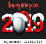snowy new year numbers 2019 and ... | Shutterstock .eps vector #1255817815