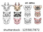 set cute animals heads coloring ... | Shutterstock .eps vector #1255817872