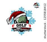 golf santa snow flake logo 01   Shutterstock .eps vector #1255818412