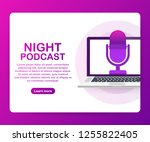 night podcast icon  vector... | Shutterstock .eps vector #1255822405