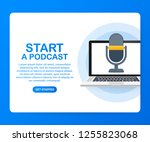 flat concept of podcasting... | Shutterstock .eps vector #1255823068