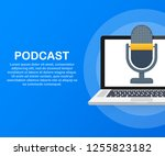podcast icon  vector symbol in... | Shutterstock .eps vector #1255823182