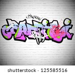 graffiti wall background  urban ... | Shutterstock .eps vector #125585516