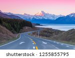 Road to Aoraki Mount Cook at twilight pink sky in NEw Zealand