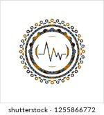 electrocardiogram icon inside... | Shutterstock .eps vector #1255866772