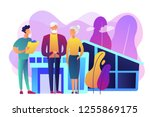 skilled nurse and elderly... | Shutterstock .eps vector #1255869175