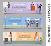 voting web banner template set. ... | Shutterstock .eps vector #1255892035