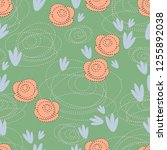 seamless pattern with cartoon... | Shutterstock .eps vector #1255892038
