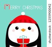 merry christmas. penguin bird... | Shutterstock .eps vector #1255900042