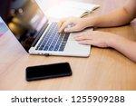 close up finger s student women ... | Shutterstock . vector #1255909288